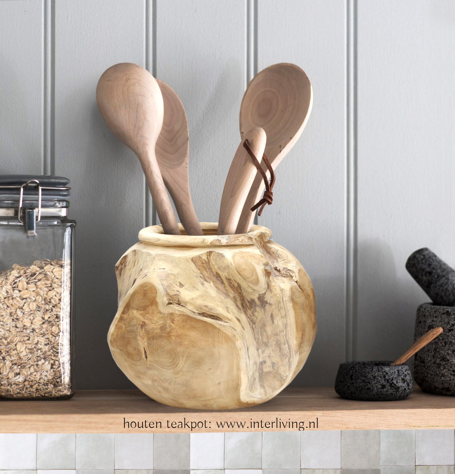 teakhouten ronde pot - Keuken gerei opbergpot uit Indonesië / Bali styling voor je huis en interieur