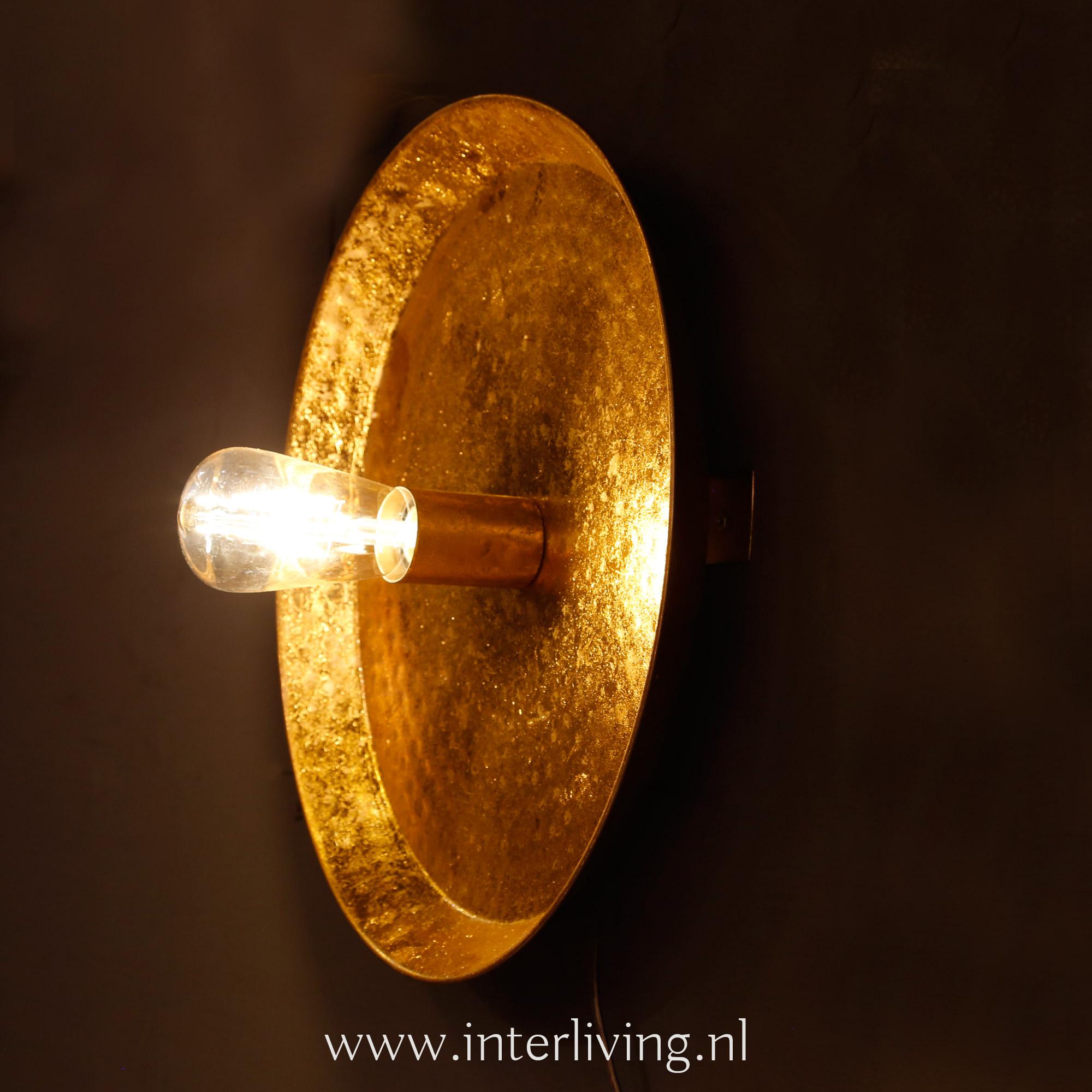 hotel chic interieur stijl wandlamp - goudkleurig metaal rond model met retro led bulb