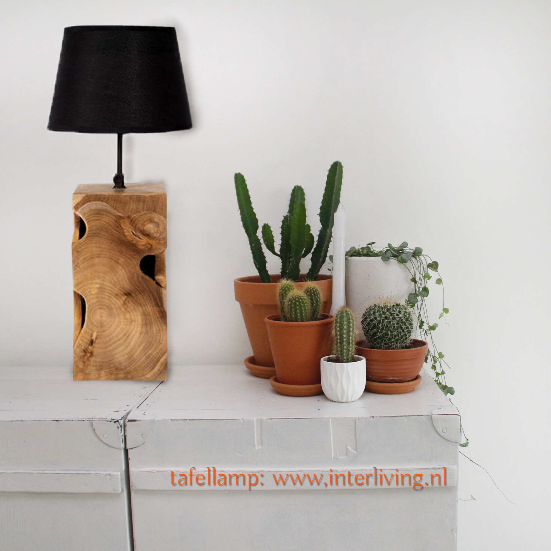 scandi bo tafellamp - naturel houten tafellamp - zwart velvet lampenkap