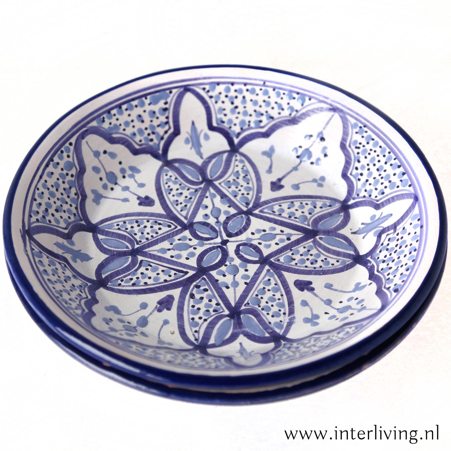 Marokkaans aardewerk bord -handgemaakt & handbeschilderd