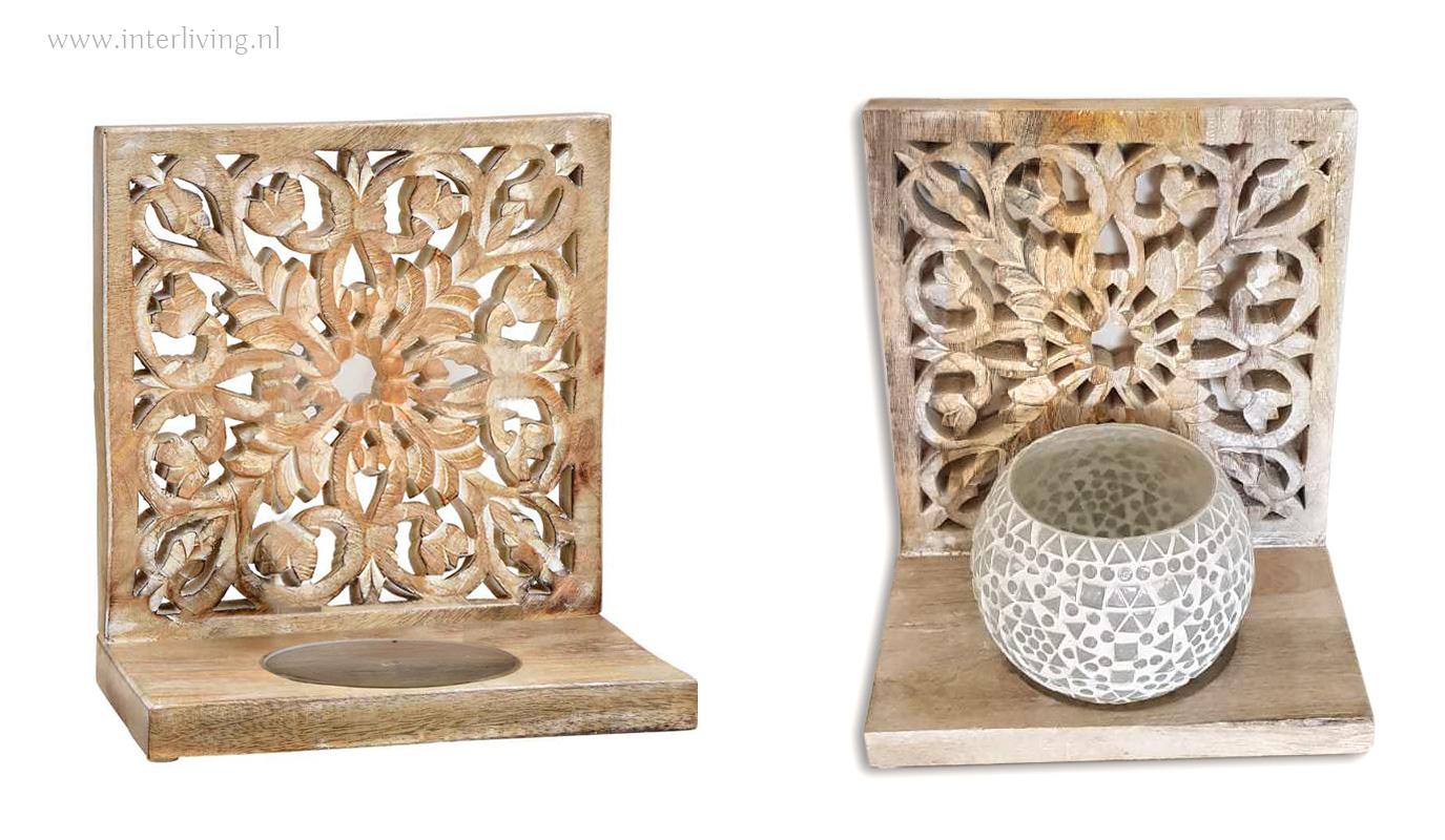 mandala houten paneel voor windlicht