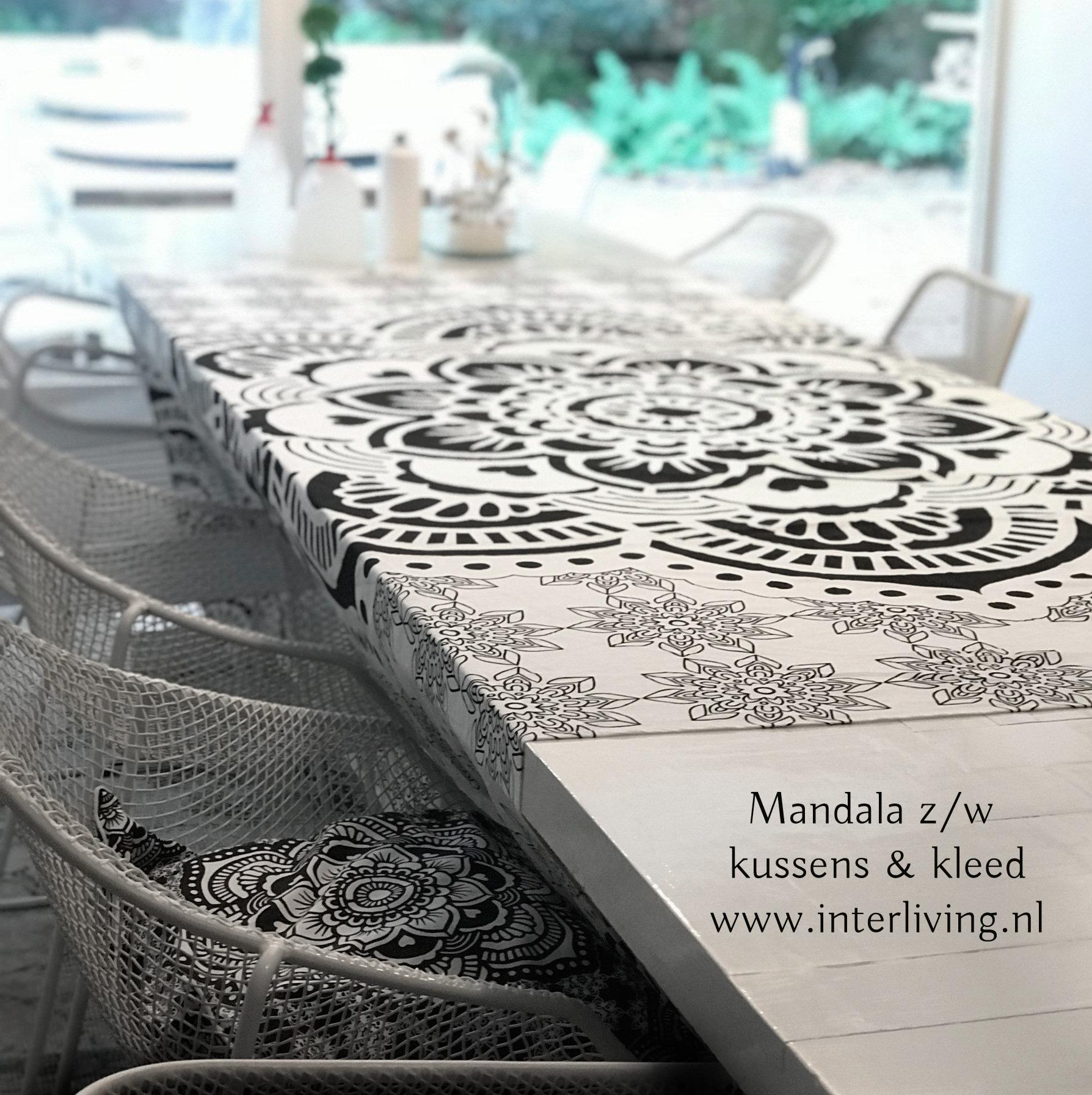wit Mandala design - bedsprei Boho Ibiza chic