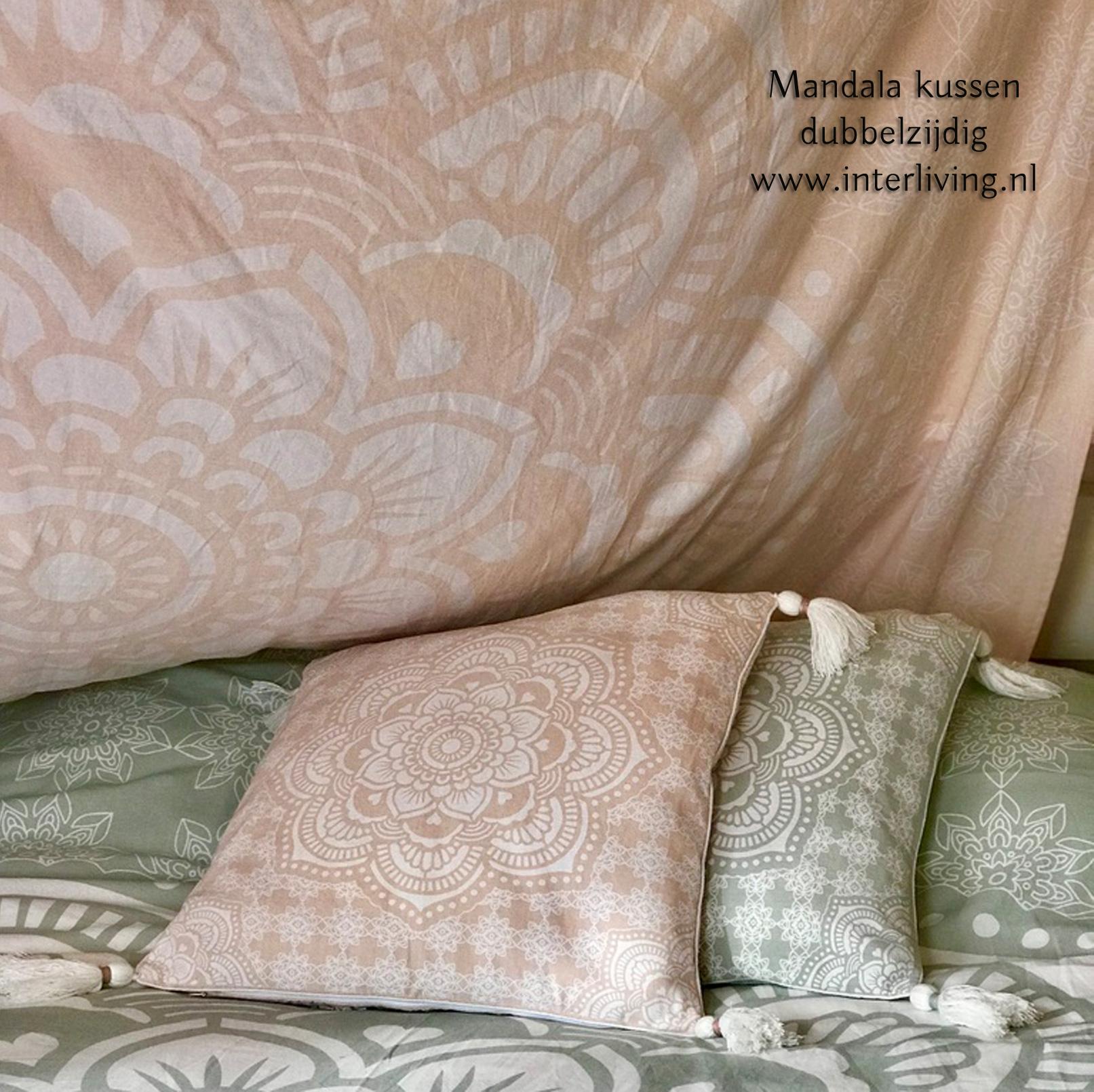 roze Boho Mandala muurdecoratie kleed of tapijt - bedsprei met bijpassend kussen Ibiza chic