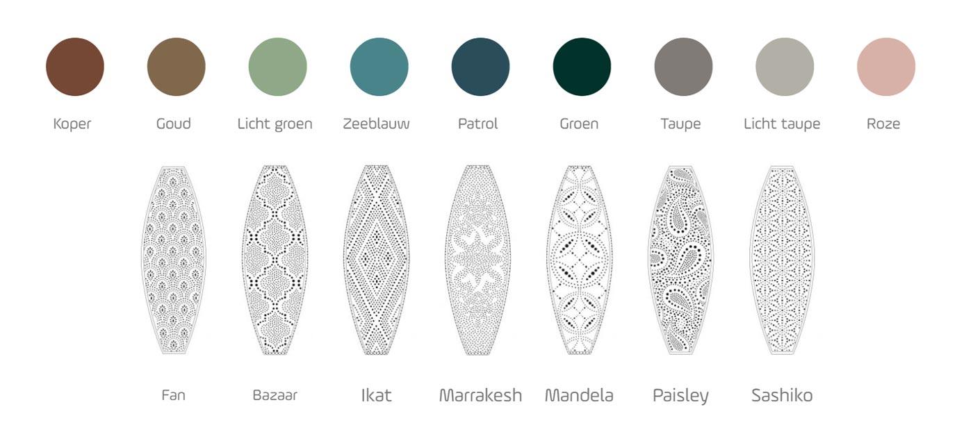 kleuren en patronen van de buitenlampen