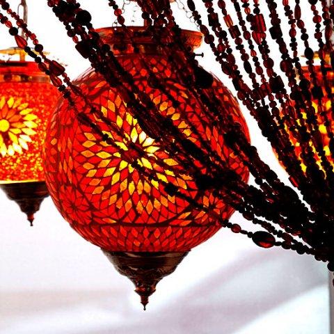 hanglamp met glasmozaïek turkish design rood – oranje