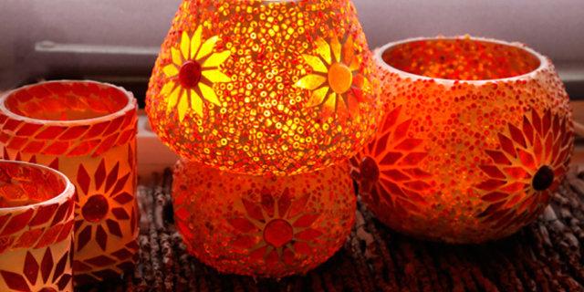Tafellamp glasmozaïek met kralen paddenstoel rood oranje: 15% korting