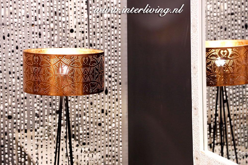 lampenkap koper filigrain lamp in zwart wit interieur webwinkel